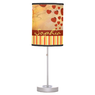 Glossy Candy Red Orange Heart Tree Flourish Yellow Table Lamps