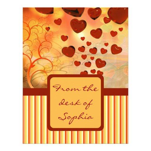 Glossy Candy Red Orange Heart Tree Flourish Yellow Letterhead
