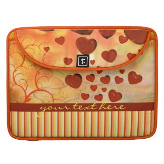 Glossy Candy Red Orange Heart Tree Flourish Yellow Sleeves For MacBook Pro