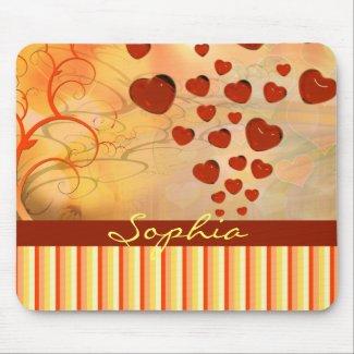 Glossy Candy Red Orange Heart Tree Flourish Yellow Mousepad