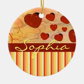 Glossy Candy Red Orange Heart Tree Flourish Yellow Christmas Tree Ornament