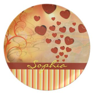 Glossy Candy Red Orange Heart Tree Flourish Yellow Dinner Plate