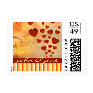 Glossy Candy Red Orange Heart Tree Flourish Yellow Postage