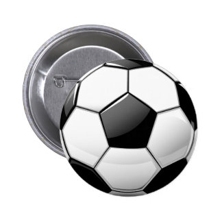 Glossy Classic Soccer Ball Pinback Button