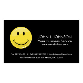Glossy Classic Yellow Happy Face Business Card