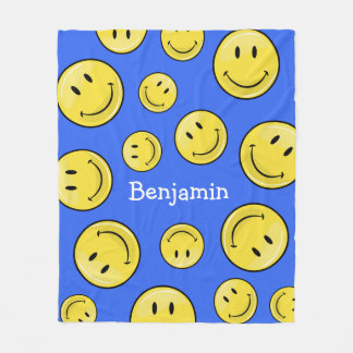 Glossy Classic Yellow Happy Face Fleece Blanket