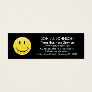 Glossy Classic Yellow Happy Face Mini Business Card