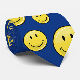 Glossy Classic Yellow Happy Face Neck Tie