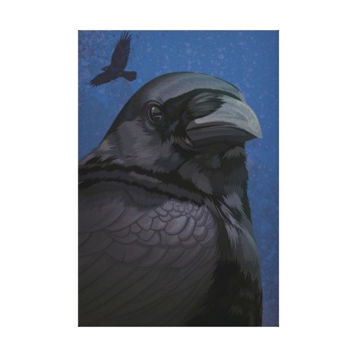 Glossy crow gallery wrapped canvas