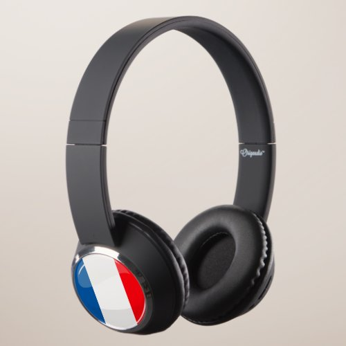 Glossy French Flag Headphones