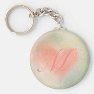 Glossy Glass pastel color heart Basic Round Button Keychain