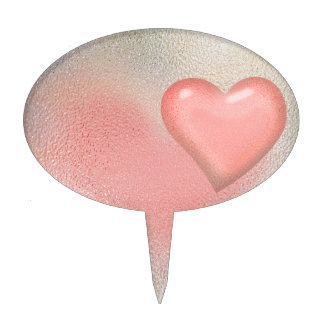 Glossy Glass pastel color heart Cake Topper