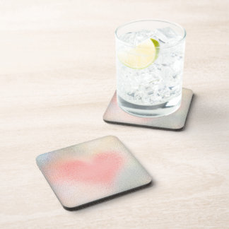 Glossy Glass pastel color heart Coaster