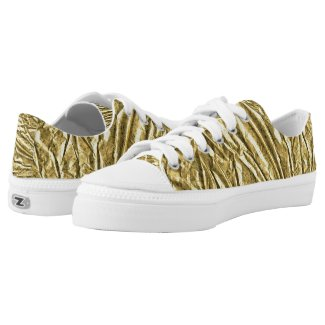 Glossy gold foil Low-Top sneakers