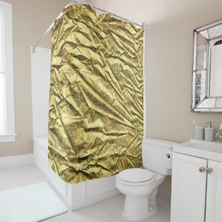 Glossy gold foil shower curtain