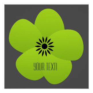 Glossy Green Fluffy Flower Poster