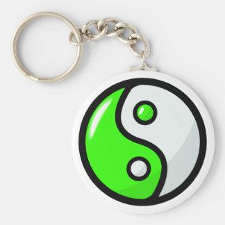 Glossy Green Yin Yang in Balance Keychain