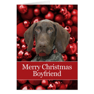 Glossy Grizzly Boyfriend Merry Christmas Greeting Card