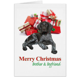 Glossy Grizzly Brother & Boyfriend Merry Christmas Greeting Card