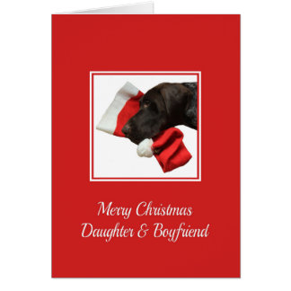 Glossy Grizzly Daughter & Boyfriend Merry Christma Greeting Card
