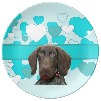 Glossy Grizzly in Blue Kitchen & Dining Porcelain Plate