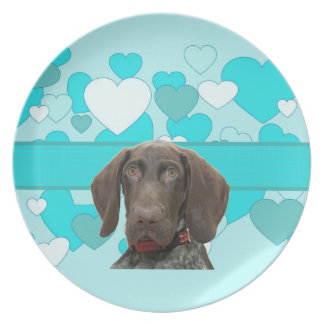 Glossy Grizzly in Blue Kitchen & Dining Dinner Plate