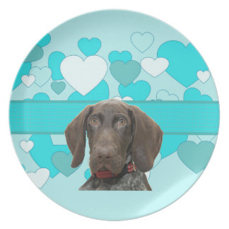 Glossy Grizzly in Blue Kitchen & Dining Party Plates