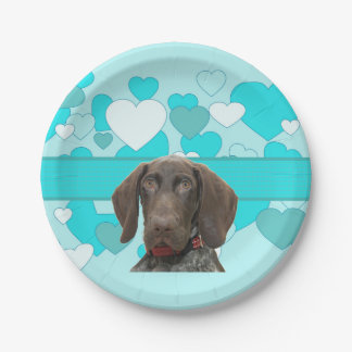 Glossy Grizzly in Blue Kitchen & Dining 7 Inch Paper Plate