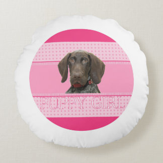 Glossy Grizzly in Pink Round Pillow