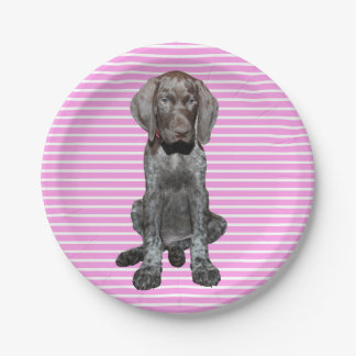 Glossy Grizzly in Pink 7 Inch Paper Plate