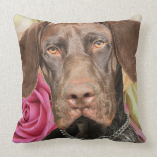 Glossy Grizzly on roses Pillow