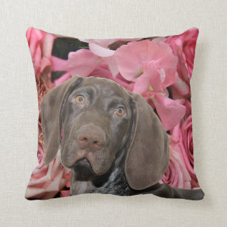 Glossy Grizzly on roses Throw Pillow