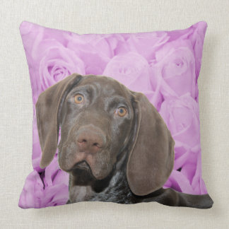 Glossy Grizzly on roses Throw Pillows