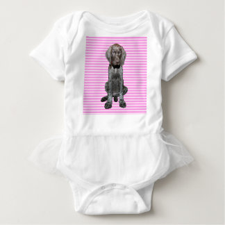 Glossy Grizzly Puppy Girl Baby Bodysuit