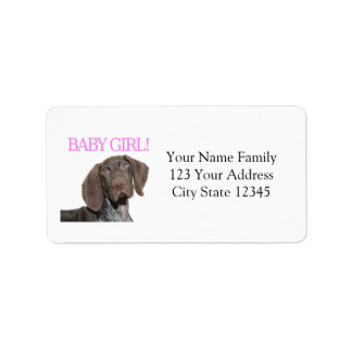 Glossy Grizzly Puppy Girl Label