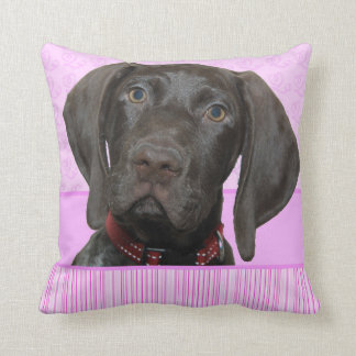Glossy Grizzly Puppy Girl Throw Pillow