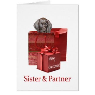 Glossy Grizzly Sister & Partner Merry Christmas Card