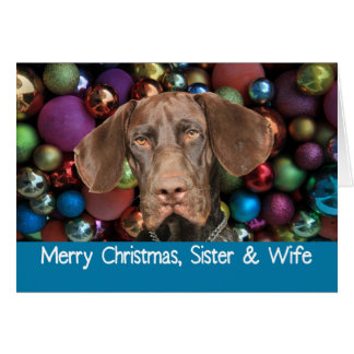 Glossy Grizzly Sister & Wife Merry Christmas Card