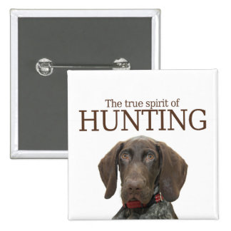 Glossy Grizzly true spirit of hunting 2 Inch Square Button