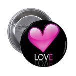 Glossy heart 2 inch round button