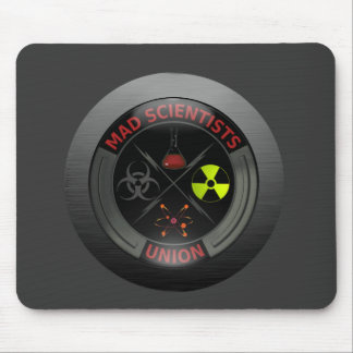 Glossy Mad Scientist Union Button Mouse Pad