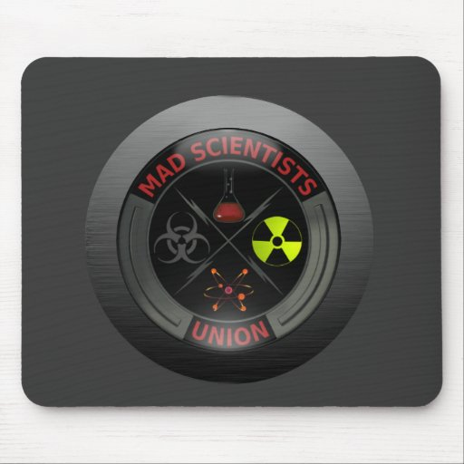Glossy Mad Scientist Union Button Mouse Pads