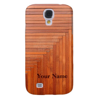 Glossy orange natural wooden planks samsung galaxy s4 cover