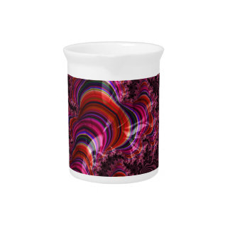 Glossy Pink Blue Twisted Fractal Pitcher