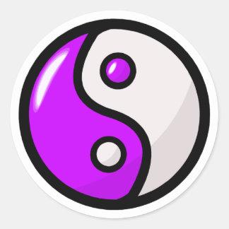 Glossy Purple Yin Yang in Balance Classic Round Sticker