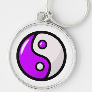 Glossy Purple Yin Yang in Balance Keychain