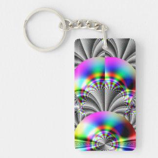 Glossy Rainbow Fractal Keychain