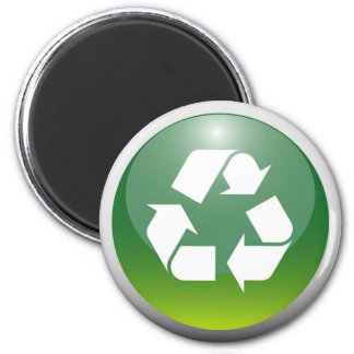Glossy Recycling Sign 2 Inch Round Magnet
