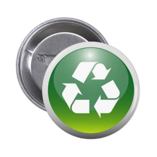 Glossy Recycling Sign Buttons