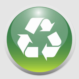 Glossy Recycling Sign Classic Round Sticker